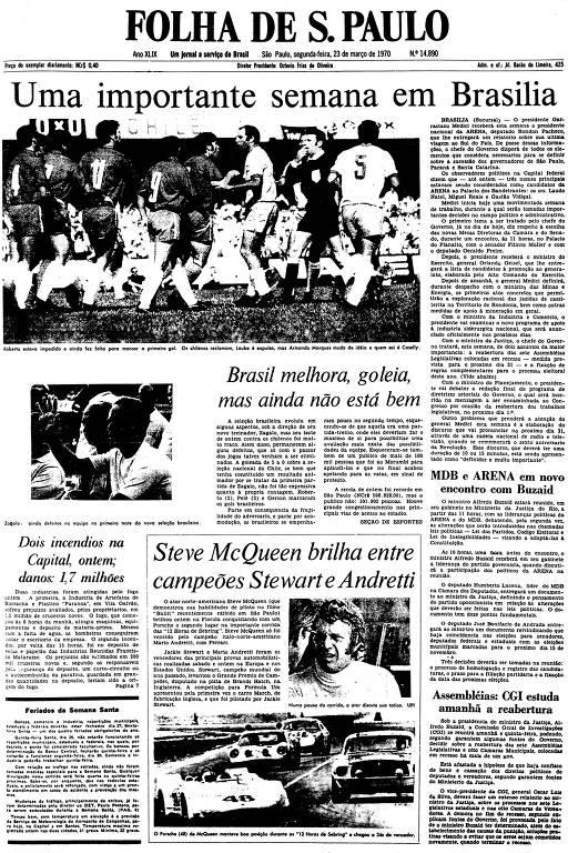 Primeira Página da Folha de 23 de março de 1970