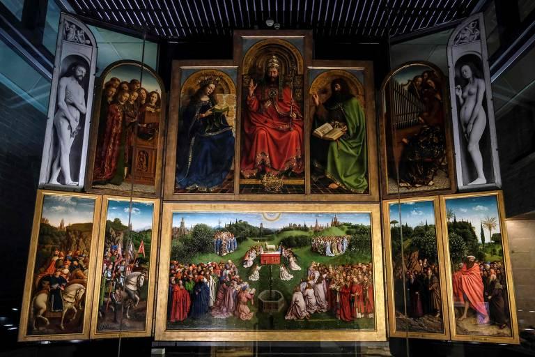 """""""Adoração do Cordeiro Místico"""" (1432), dos irmãos Hubert e Jan van Eyck"""