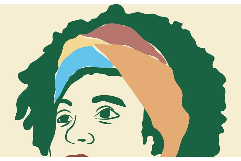 Ilustração de rosto de Marielle Franco com uma faixa colorida em seu cabelo