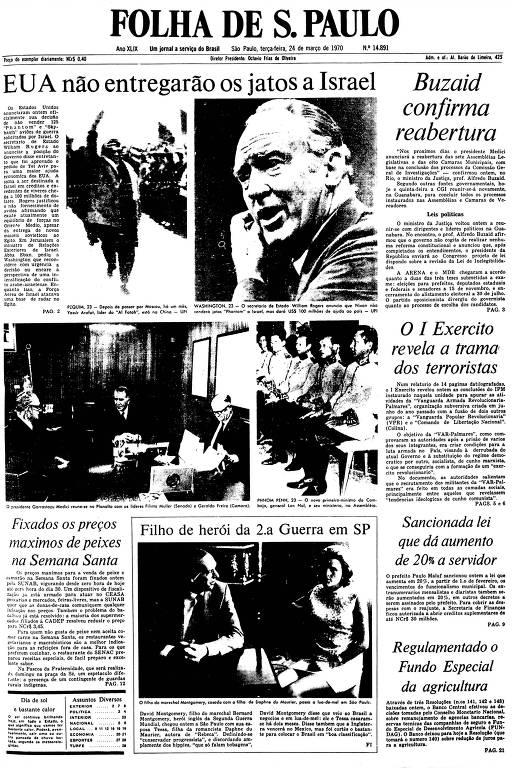 Primeira Página da Folha de 24 de março de 1970