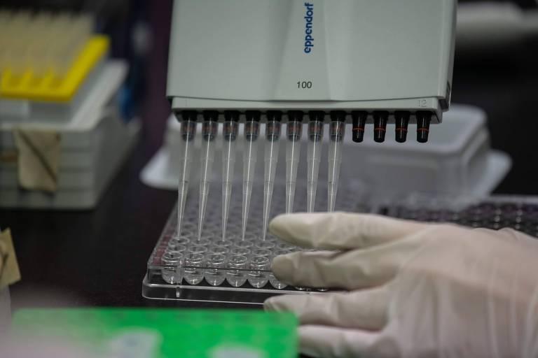 Pesquisadores trabalham com neutralizadores de anticorpos em laboratório de Seul, na Coreia do Sul