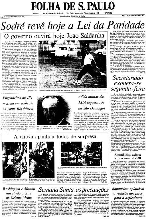 Primeira Página da Folha de 25 de março de 1970