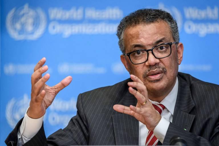 O diretor-geral da OMS, Tedros Adhanom Ghebreyesus em uma entrevista para falar sobre a pandemia do novo coronavírus, na sede da entidade em Genebra (Suíça)