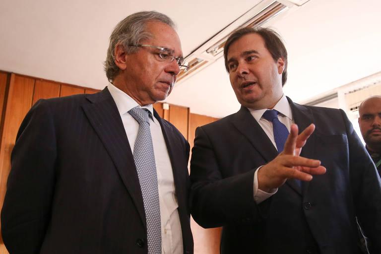Presidente da câmara dos deputados, Rodrigo Maia (DEM-RJ), e o ministro da Economia, Paulo Guedes