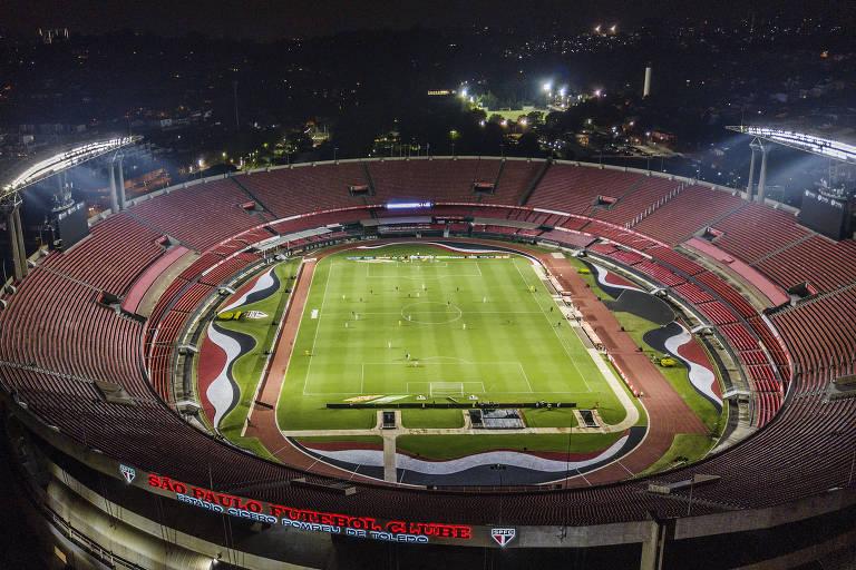 São Paulo e Santos jogam no Estádio do Morumbi sem a presença do píblico depois de decisão da Federação Paulista de Futebol, em meio a preocupação com a pandemia de coronavírus