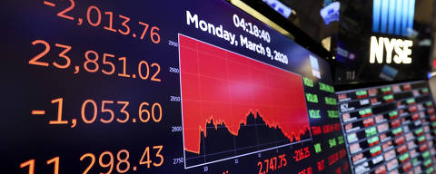 (200310) -- NEW YORK, March 10, 2020 (Xinhua) -- Electronic screens show the closing numbers at the New York Stock Exchange (NYSE) in New York, the United States, March 9, 2020.