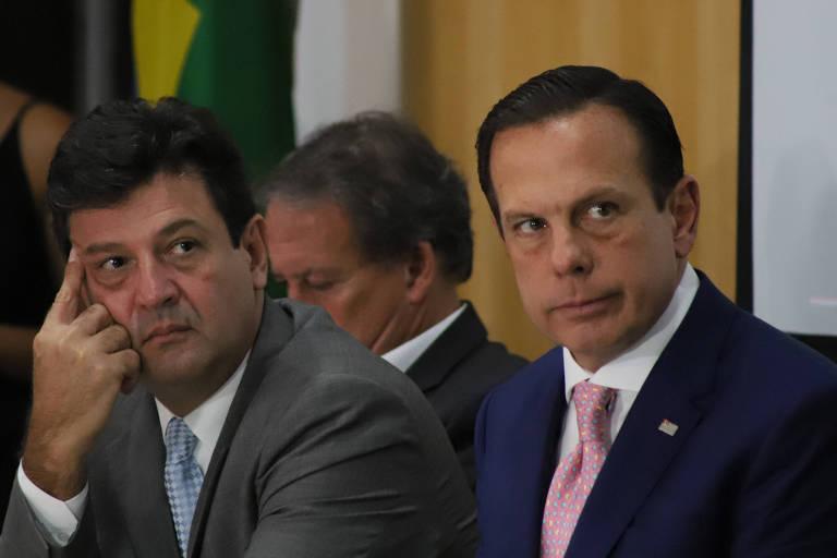 Doria e o ministro da Saúde, Luiz Henrique Mandetta, em entrevista sobre coronavírus