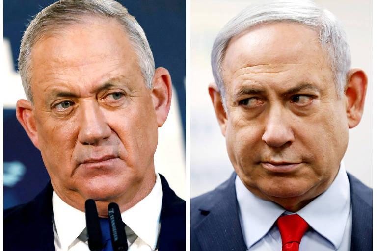 Combinação de retratos dos dois políticos, ambos brancos, de cabelos brancos e usando terno
