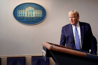 U.S. President Trump speaks during a news briefing on the administration's response to the coronavirus in Washington.