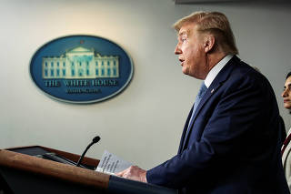 U.S. President Trump speaks about coronavirus (COVID-19) pandemic at the White House in Washington