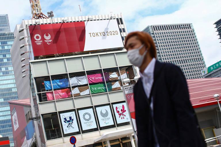 Ruas de Tóquio estão repletas de referências aos Jogos Olímpicos de 2020