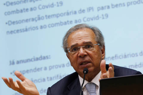 Brazil's Economy Minister Paulo Guedes speaks during a press conference to announce economic measures due the coronavirus outbreak in Brasilia, Brazil March 16, 2020. REUTERS/Adriano Machado ORG XMIT: GGGAHM15