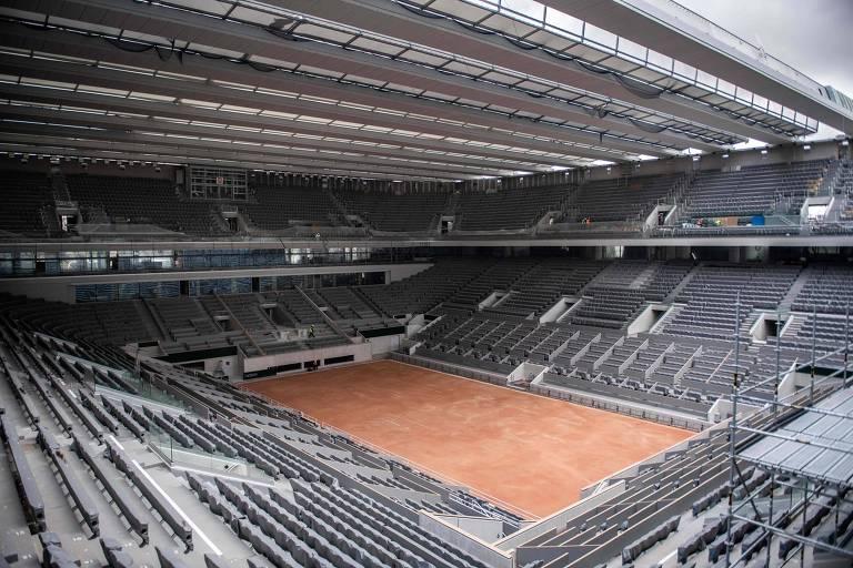 A nova cobertura da quadra Philippe Chatrier, a principal de Roland Garros
