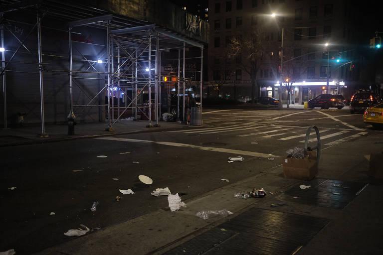 Ruas vazias em Nova York por causa do coronavírus