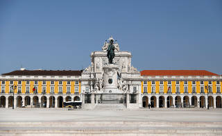 Comercio Square is pictured at the noon during the spread of coronavirus disease (COVID-19), in downtown Lisbon