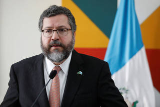 Guatemalan Foreign Minister Brolo and his Brazilian counterpart Araujo hold a news conference in Guatemala City