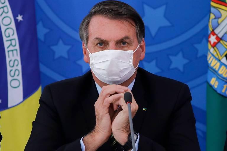 Presidente Jair Bolsonaro em coletiva de imprensa para falar sobre o novo coronavírus