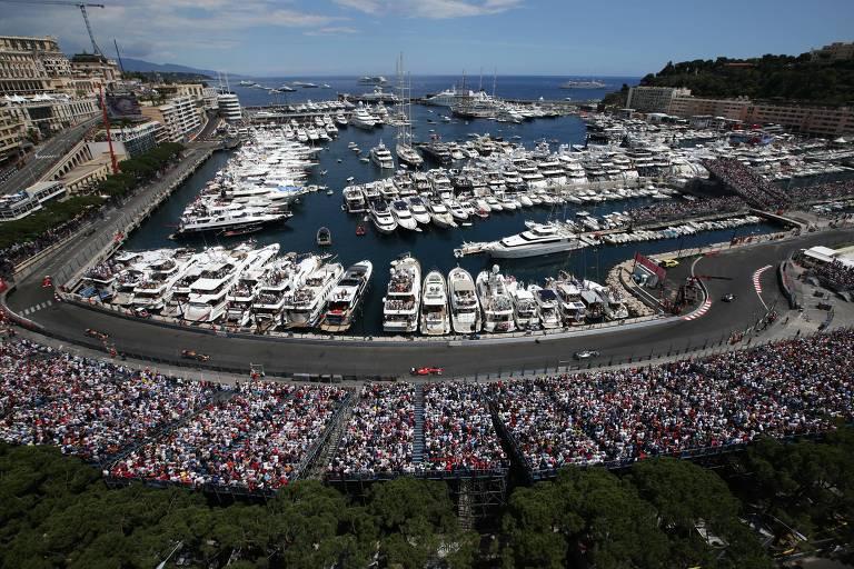 Vista aérea da pista do Grande Prêmio de Mônaco de Fórmula 1