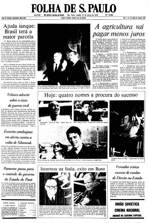 Primeira Página da Folha de 21 de março de 1970