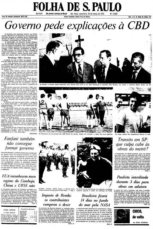 Primeira Página da Folha de 20 de março de 1970
