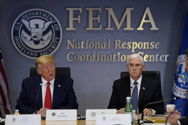 O presidente americano Donald Trump e o seu vice Mike Pence