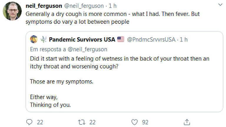 Post do epidemiologista do Imperial College, Neil Ferguson, sobre seus sintomas por causa do coronavírus
