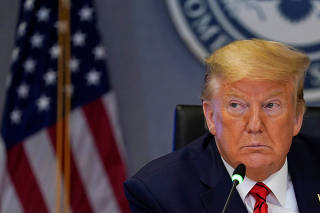 U.S. President Donald Trump attends a meeting at the Federal Emergency Management Agency headquarters, in Washington