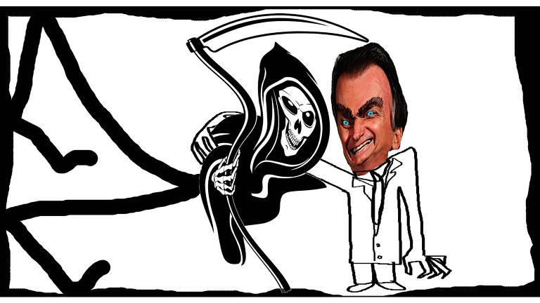 Ilustração de Jair Bolsonaro com um dos braços no ombro da Morte que segura um ceifador
