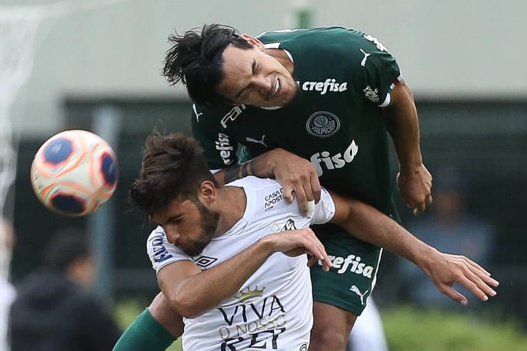 Gustavo Gómez, do Palmeiras, e Yuri Alberto, do Santos, disputam clássico do Paulistão: como será na volta após a pandemia do coronavírus?