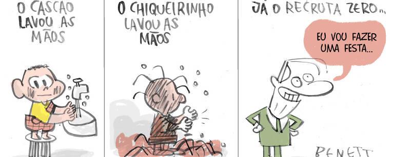 """Charge Benett publicada na Folha no dia 19 de março de 2020 tem 3 momentos no primeiro momento leva o título Cascão lavou, nela o personagem da turma da Monica em cima de um banco lavando as mãos a pia. No segundo momento leva título o chiqueirinho lavou as mãos, o personagem chiqueirinho do  desenho snoopy lavando as mãos. No terceiro momento leva o título já o recruta zero, o presidente Jair Bolsonaro que diz, """"vou fazer uma festa"""""""