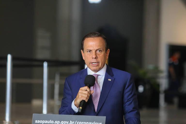 Governador do Estado de São Paulo, João Doria durante coletiva de imprensa sobre coronavírus