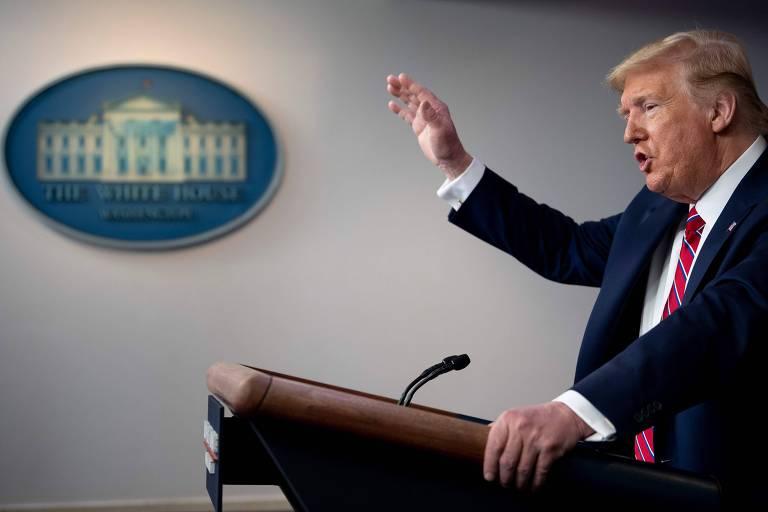 O presidente americano, Donald Trump, durante a entrevista coletiva desta sexta (20) na Casa Branca