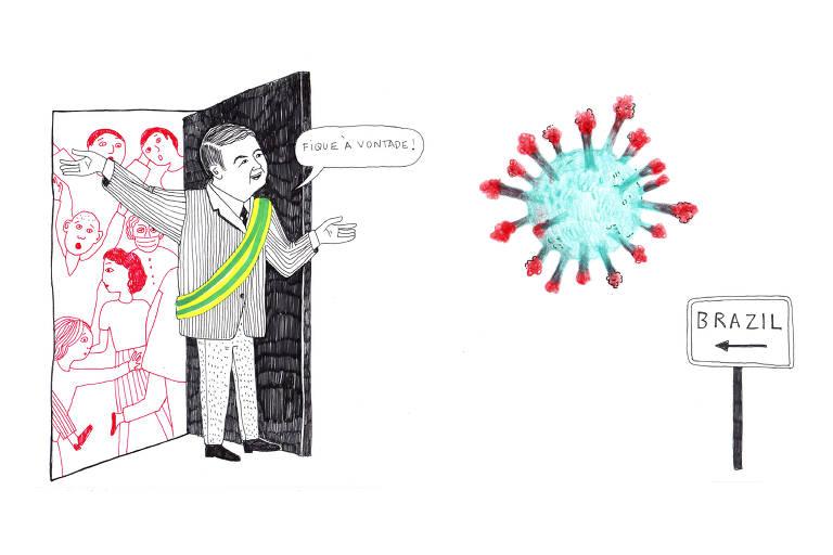Ilustração mostra presidente bolsonaro abrindo porta para vírus entrar, atrás dele várias pessoas assustadas