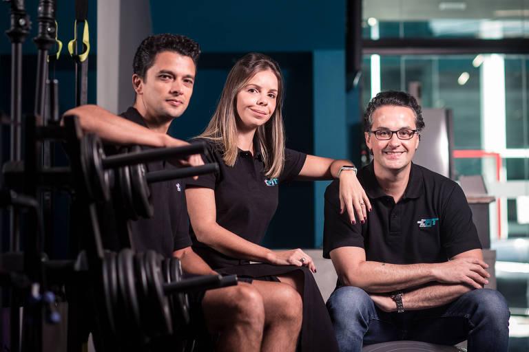 Os sócios da E-Fit no Brasil: Eduardo Silva (à esquerda), Fernanda Arraez e Alexandre Rojas