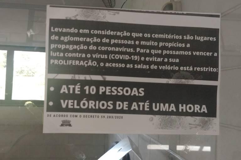 Coronavírus faz cair o movimento nos cemitérios de SP