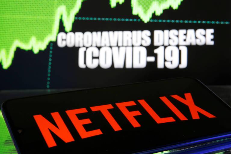 Logo da Netflix em frente a imagem sobre a Covid-19