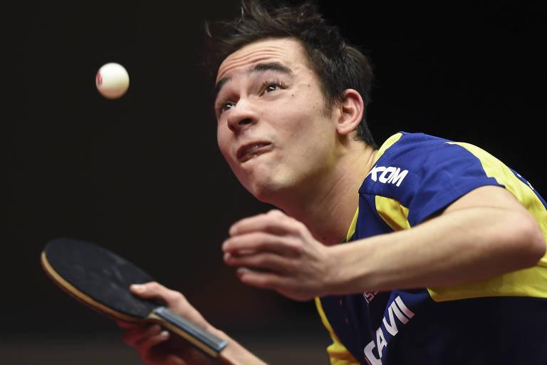 O mesa-tenista brasileiro Hugo Calderano, que tomou medidas emergenciais para se manter treinando