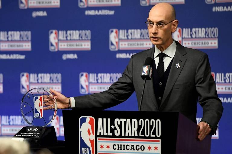 O comissário da NBA, Adam Silver, durante entrevista coletiva do Jogo das Estrelas