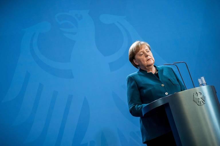 Chanceler da Alemanha, Angela Merkel, durante pronunciamento sobre o coronavírus