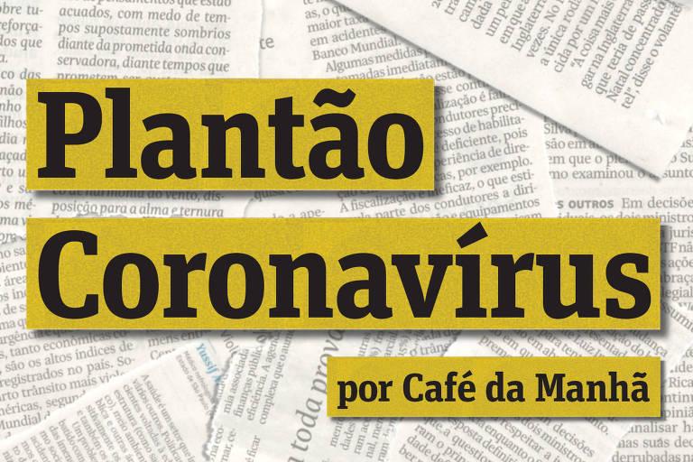 Capa do podcast Plantao Coronavirus, parceria entre Folha e Spotify. Logo da Folha e do Spotify no canto