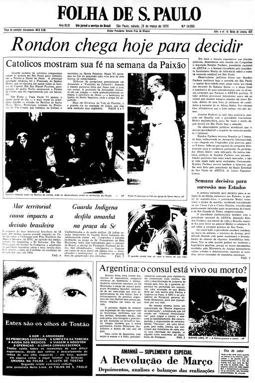 Primeira Página da Folha de 28 de março de 1970