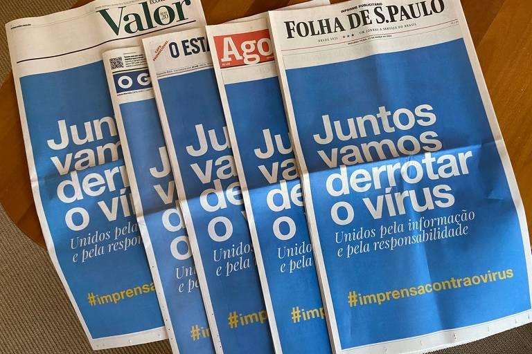 Jornais brasileiros unificam capas contra coronavírus