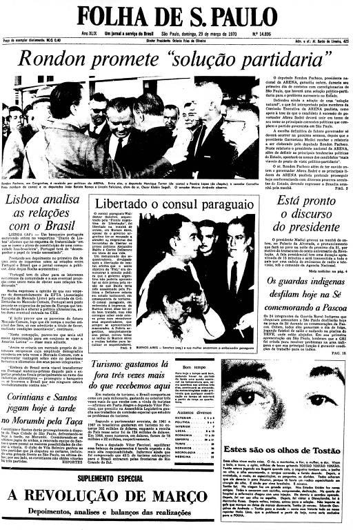 Primeira Página da Folha de 29 de março de 1970