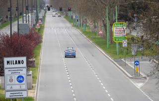 A general view of almost empty streets in Milan, as the spread of the coronavirus disease (COVID-19) continues