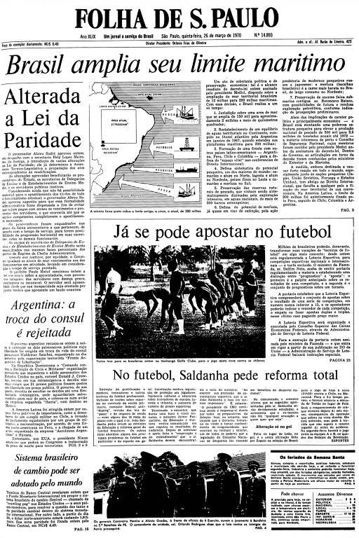 Primeira Página da Folha de 26 de março de 1970