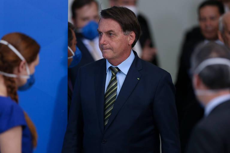 O presidente Jair Bolsonaro, nesta segunda-feira (23), em Brasília