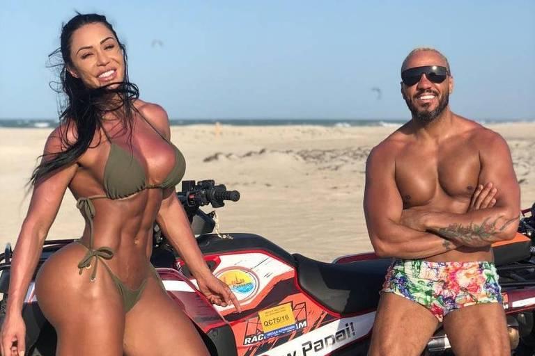 O cantor Belo e a namorada Gracyanne Barbosa