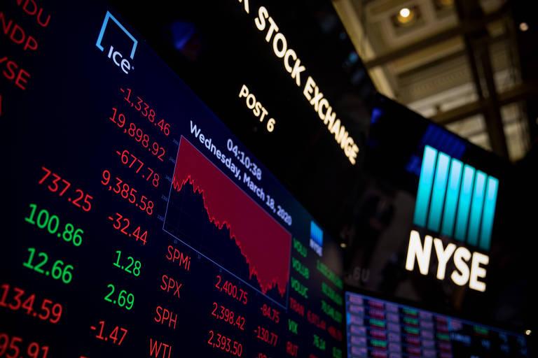 Painéis de operações da Bolsa de Valores de Nova York