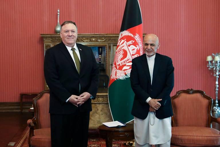 O secretário de Estado dos EUA, Mike Pompeo, encontra o presidente do Afeganistão, Ashraf Ghani