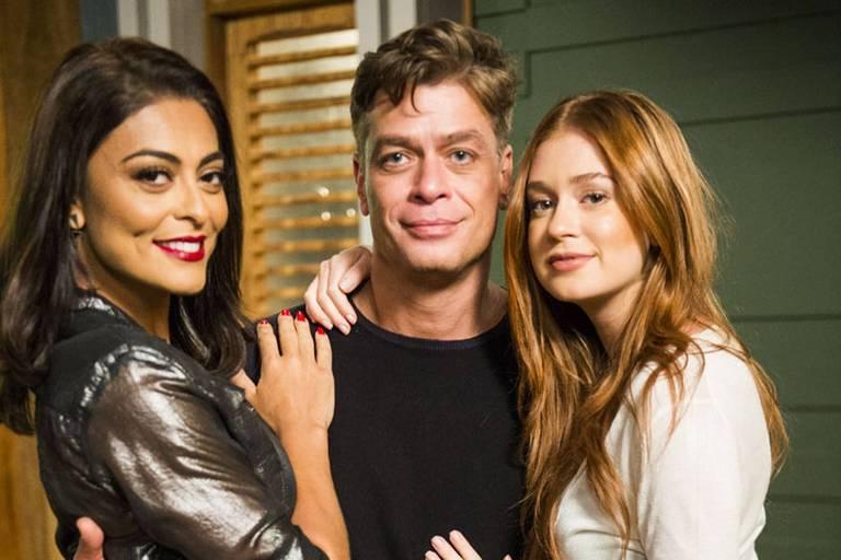 Fábio Assunção vive Arthur, Marina Ruy Barbosa (dir.) é Eliza e Juliana Paes é a vilã Carolina